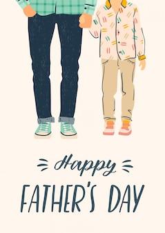 Feliz dia dos pais. ilustração. homem segura a mão de criança.