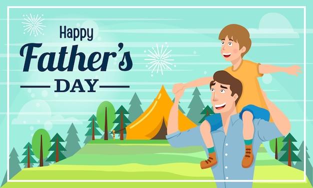 Feliz dia dos pais ilustração para cartão. pai dando filho ombro passeio nos ombros no exterior
