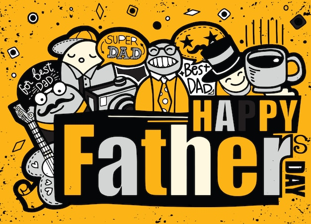 Feliz dia dos pais mão ilustrações desenhadas com texto.