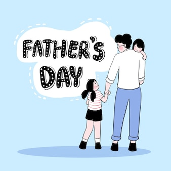 Feliz dia dos pais, o pai segura o filho no ombro e leva sua filha ao festival do dia dos pais