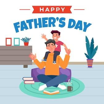 Feliz dia dos pais pai brincando com seu filho dentro de casa