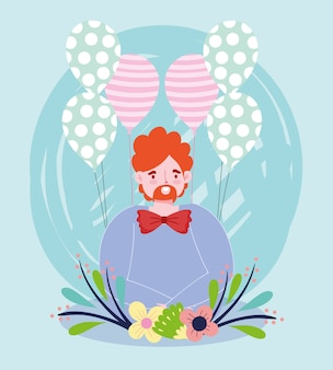 Feliz dia dos pais, pai com decoração de flores de balões de gravata borboleta