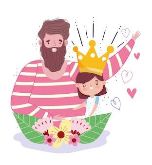 Feliz dia dos pais, pai com filha coroa e decoração de flores