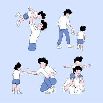 Feliz dia dos pais pai e filho brincam juntos no dia dos pais