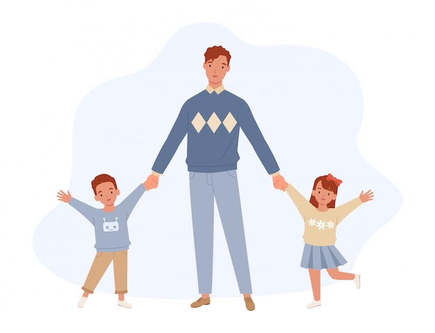Feliz dia dos pais. pai, filho e filha de mãos dadas. pai e filhos se divertindo juntos. família feliz. ilustração em um estilo simples