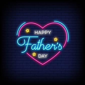 Feliz dia dos pais para cartaz em estilo neon