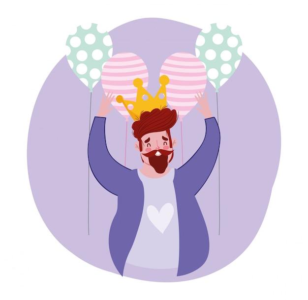 Feliz dia dos pais, personagem pai com coroa e balões