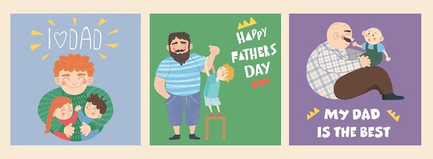 Feliz dia dos pais! um conjunto de três ilustrações em um estilo simples desenhado à mão. família, conceito de amor e cuidado dos pais em relação aos filhos.