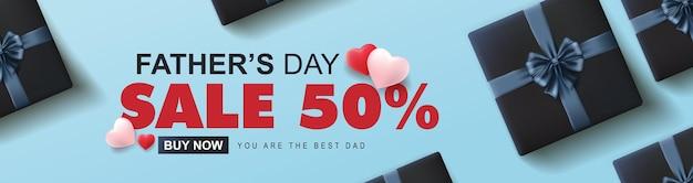 Feliz dia dos pais venda 50 de banner com caixa de presente e formato de coração