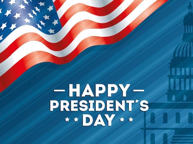 Feliz dia dos presidentes com bandeira eua