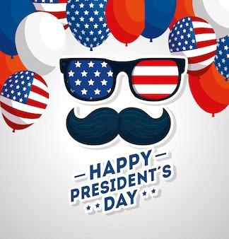 Feliz dia dos presidentes com bigode e óculos