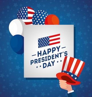Feliz dia dos presidentes com chapéu e balões de hélio