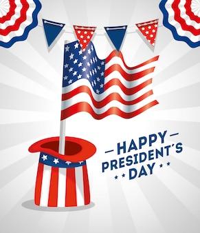 Feliz dia dos presidentes com chapéu e bandeira eua