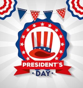Feliz dia dos presidentes com chapéu e guirlandas penduradas