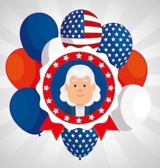 Feliz dia dos presidentes com pessoa e balões de hélio