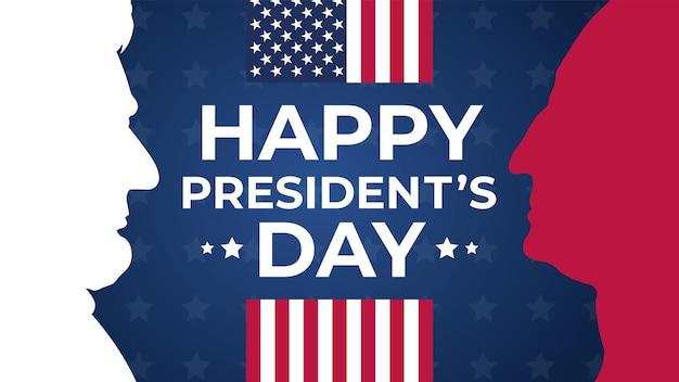 Feliz dia dos presidentes comemorar saudações de feriado de bandeira.