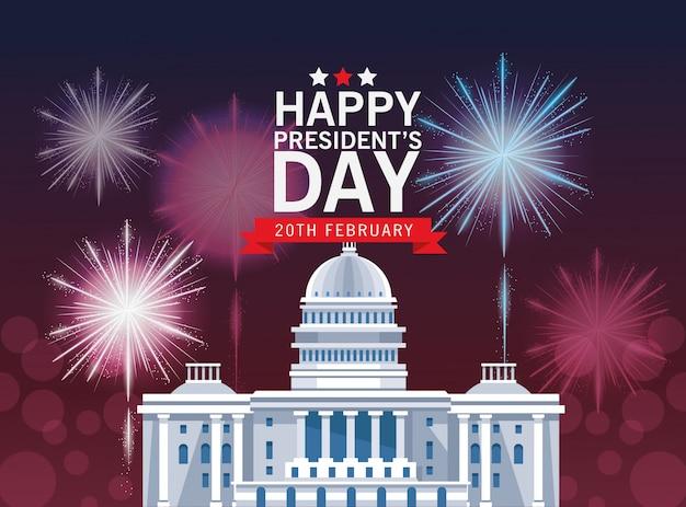 Feliz dia dos presidentes fundo com edifício do capitólio