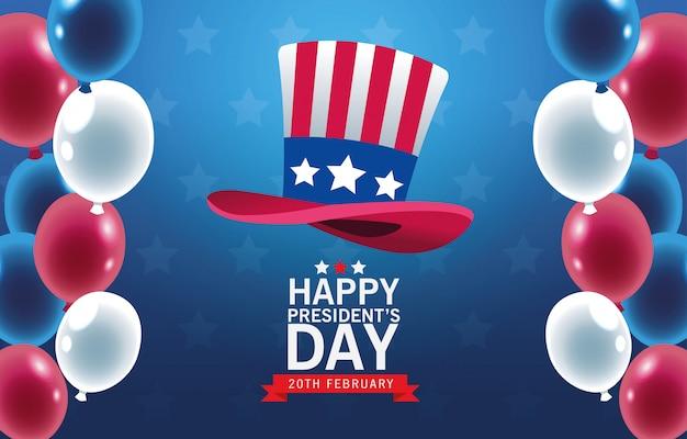 Feliz dia dos presidentes fundo com tophat e balões de hélio