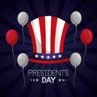 Feliz dia dos presidentes ilustração com chapéu de tio sam