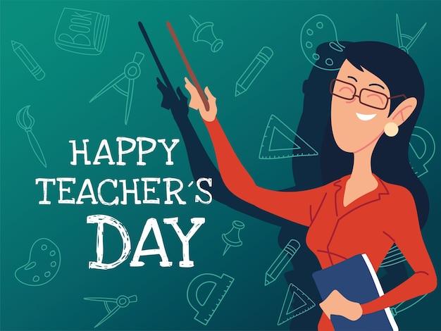 Feliz dia dos professores cartão com design feminino