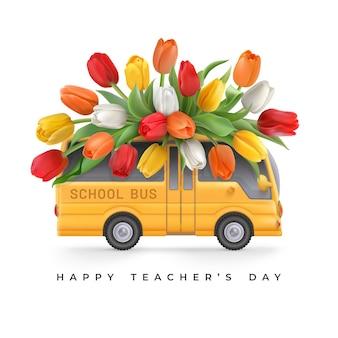 Feliz dia dos professores cartão com tulipas coloridas no ônibus escolar