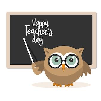 Feliz dia dos professores com professor de coruja em um fundo branco