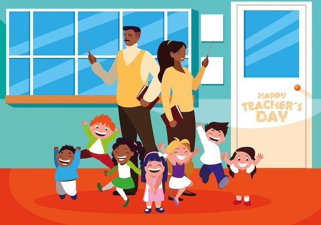 Feliz dia dos professores com professores e alunos na escola