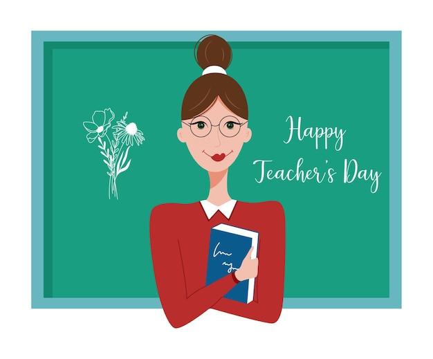 Feliz dia dos professores conceito jovem professora com um livro