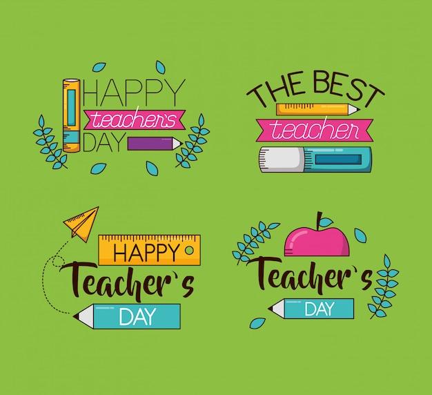 Feliz dia dos professores conjunto coleção
