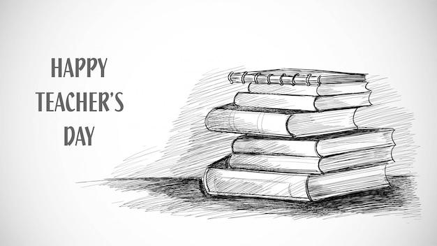 Feliz dia dos professores desenho de livro de esboço