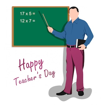 Feliz dia dos professores do mundo. ilustração, de, macho, professor
