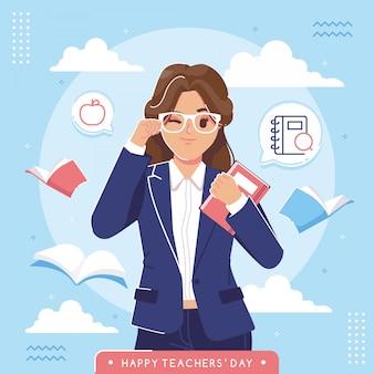 Feliz dia dos professores ilustração fundo