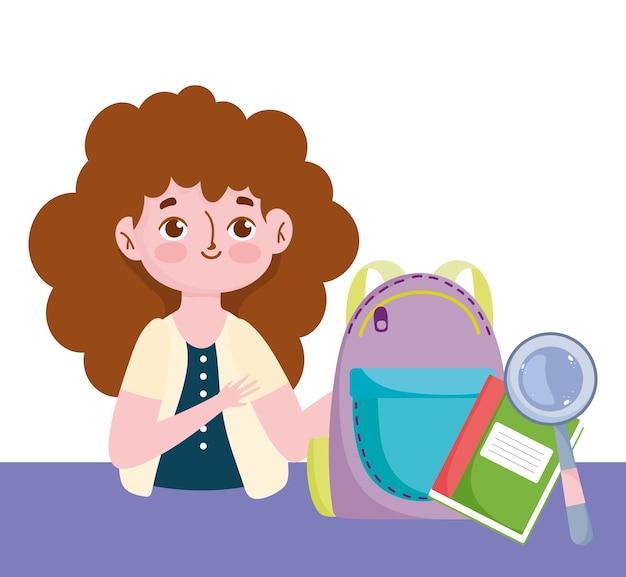 Feliz dia dos professores, livro de mochila do professor e lupa