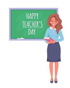 Feliz dia dos professores professora feminina em sala de aula com quadro-negro