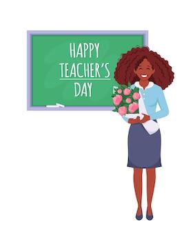 Feliz dia dos professores professora negra com flores na sala de aula