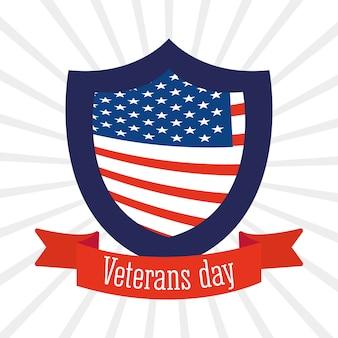 Feliz dia dos veteranos, bandeira americana em escudo e ilustração de fundo de fita sunburst