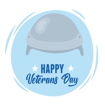 Feliz dia dos veteranos, cartão do capacete do soldado das forças armadas militares dos eua.