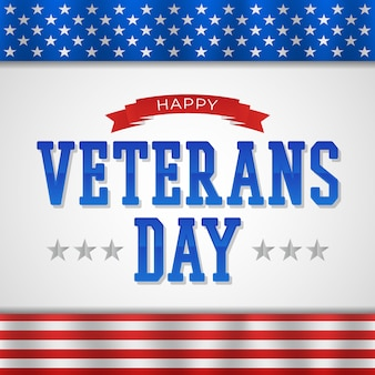 Feliz dia dos veteranos com texto e bandeira