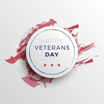 Feliz dia dos veteranos design de layout de banner com sombras 3d realistas em um fundo branco