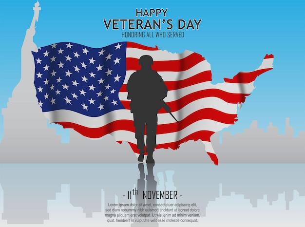 Feliz dia dos veteranos design de pôster com bandeira americana e soldado