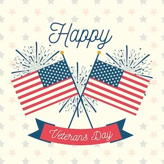 Feliz dia dos veteranos, eua cruzaram bandeiras ilustração de celebração de fogos de artifício