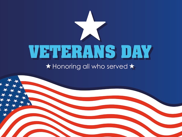 Feliz dia dos veteranos, ilustração de comemoração da bandeira americana do cartão