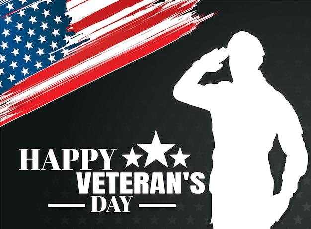 Feliz dia dos veteranos ilustração em vetor militar silhuetas de soldados de fundo do exército