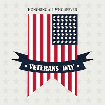 Feliz dia dos veteranos, ilustração vetorial de fita pendente com bandeira americana