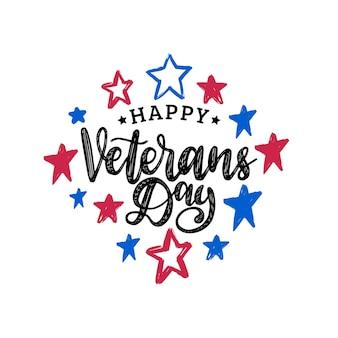 Feliz dia dos veteranos, letras de mão em fundo de estrelas de cor. cartaz de férias de 11 de novembro, cartão de felicitações em vetor.