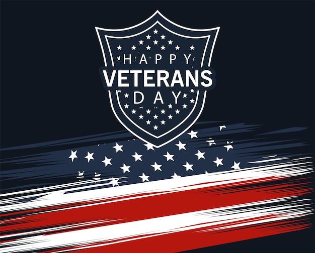 Feliz dia dos veteranos, letras em cartaz com escudo no desenho de ilustração de bandeira