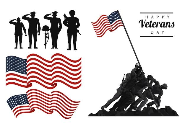 Feliz dia dos veteranos, letras em cartaz com soldados e ilustração de ícones de bandeira