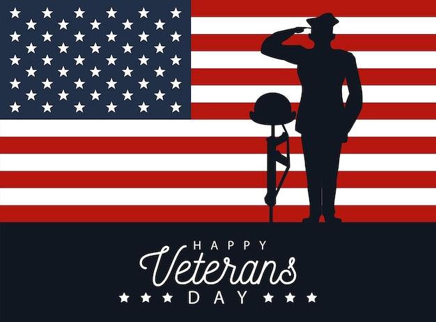 Feliz dia dos veteranos, letras em pôster com oficial militar e capacete no design de ilustração de rifle