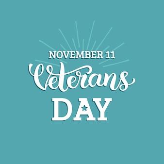 Feliz dia dos veteranos letras isoladas em azul