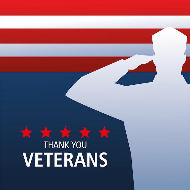 Feliz dia dos veteranos, silhueta do soldado saudando e bandeira